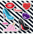 fashion woman girls elements sticker on pop art vector image