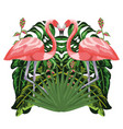 flamingos exotic and tropical birds vector image vector image