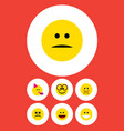 flat icon emoji set of displeased laugh cross vector image vector image