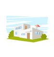 flat style modern architecture house with green vector image vector image