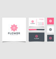 flower logo design with line art style logos can vector image vector image