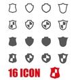 Grey shield icon set