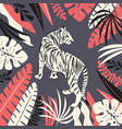 hand drawn white tiger with exotic tropical vector image vector image