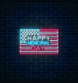 happy memorial day glowing neon sign with usa vector image