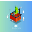 isometric cart icon with currency vector image vector image