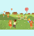 kids jumping doing yoga activities and sports vector image
