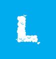 letter l cloud font symbol white alphabet sign on vector image vector image