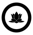 lotus flower icon black color in circle vector image vector image