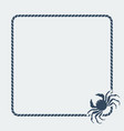 marine background sea rope frame with crab vector image vector image