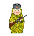 military matrioshka with gun new russian folk vector image vector image