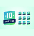 number days left labels in vector image vector image
