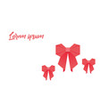 origami with bow red colored on a white background vector image