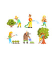 people working in garden set cheerful farmers vector image vector image