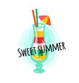 postcard sweet summer colorful cocktail vector image vector image