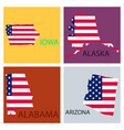 poster map of united states of america with state vector image vector image