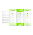 Pricing List with Recommended Option vector image vector image