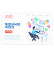 programming process landing page isometric vector image vector image