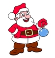 Santa Claus holding Christmas tree ball vector image