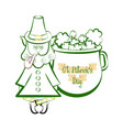 sketch of a irish elf with a clovers in a pot vector image