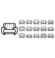 sofa icons set outline style vector image