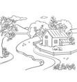 spring landscape coloring book vector image vector image