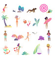 summer relaxing people and leisure activity in the vector image