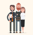 teamwork two men and a woman are posing vector image