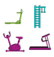 training apparatus icon set color outline style vector image