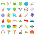 trajectory of motion icons set cartoon style vector image