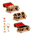 treasure chest with gold coins and precious stones vector image vector image