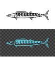 wahoo fish king mackerel black sign vector image vector image