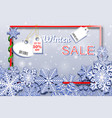 winter sale horizontal banner with snowfall and vector image vector image
