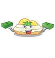 with money cartoon piece of yummy lemon meringue vector image vector image