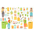zero waste eco reusable objects and people vector image vector image