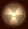 glow button with radiation symbol vector image
