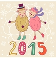 2015 card with cute sheeps couple kissing vector image vector image