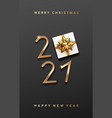 2021 happy new year gift box gold ribbons poster vector image