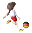 A young football player using the ball from vector image vector image