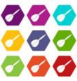 arrow to play dart icon set color hexahedron vector image vector image