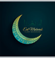 beautiful decorative eid mubarak moon background vector image vector image