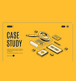 case study isometric banner information research vector image vector image