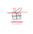 christmas background with red gift vector image