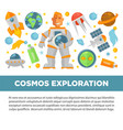 cosmos exploration promotional poster with vector image vector image