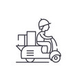 courier on a motor scooter line icon concept vector image vector image