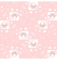 Cute floral seamless background with pink owls vector image