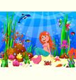 cute joyful little mermaid in underwater world vector image vector image