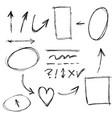 doodle design element lines arrows check vector image vector image