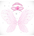 fairy wings with gold tiaras bundled isolated on vector image