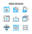 flat line icons with blue color for web design vector image