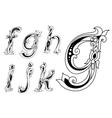 floral ornamental outline sketch letters font vector image vector image